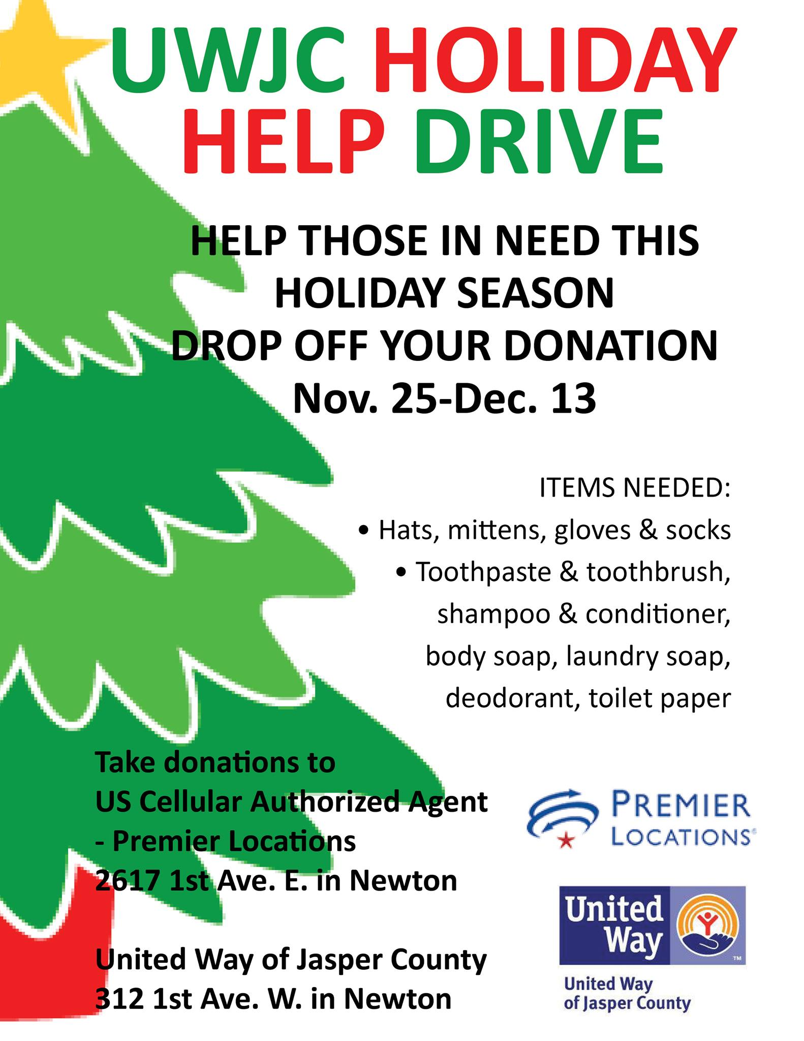 United Way of Jasper County's Annual Holiday Help Drive