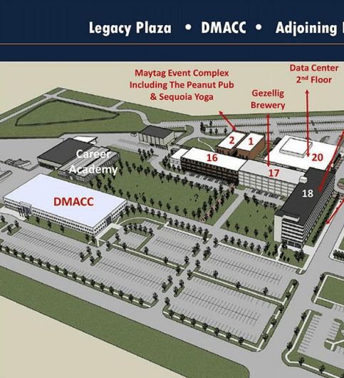 A building map of Legacy plaza showing buildings 1, 2, and 16.