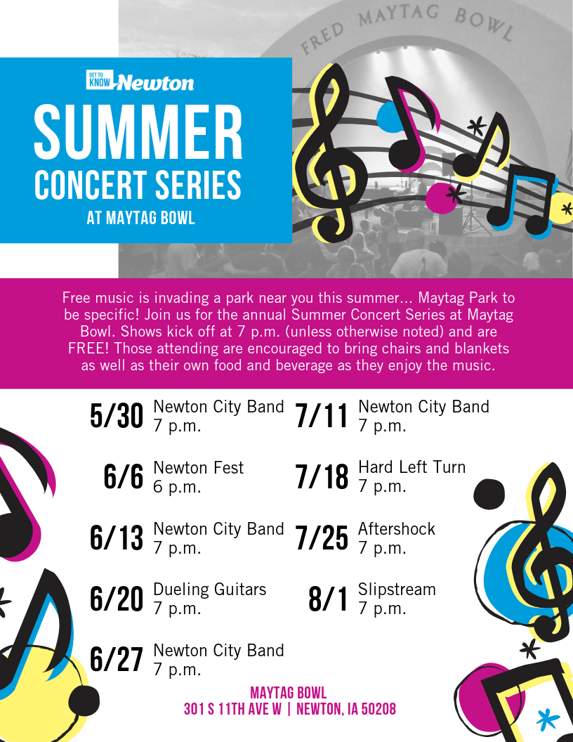 Flyer - 2019 SUMMER CONCERT SERIES AT MAYTAG BOWL