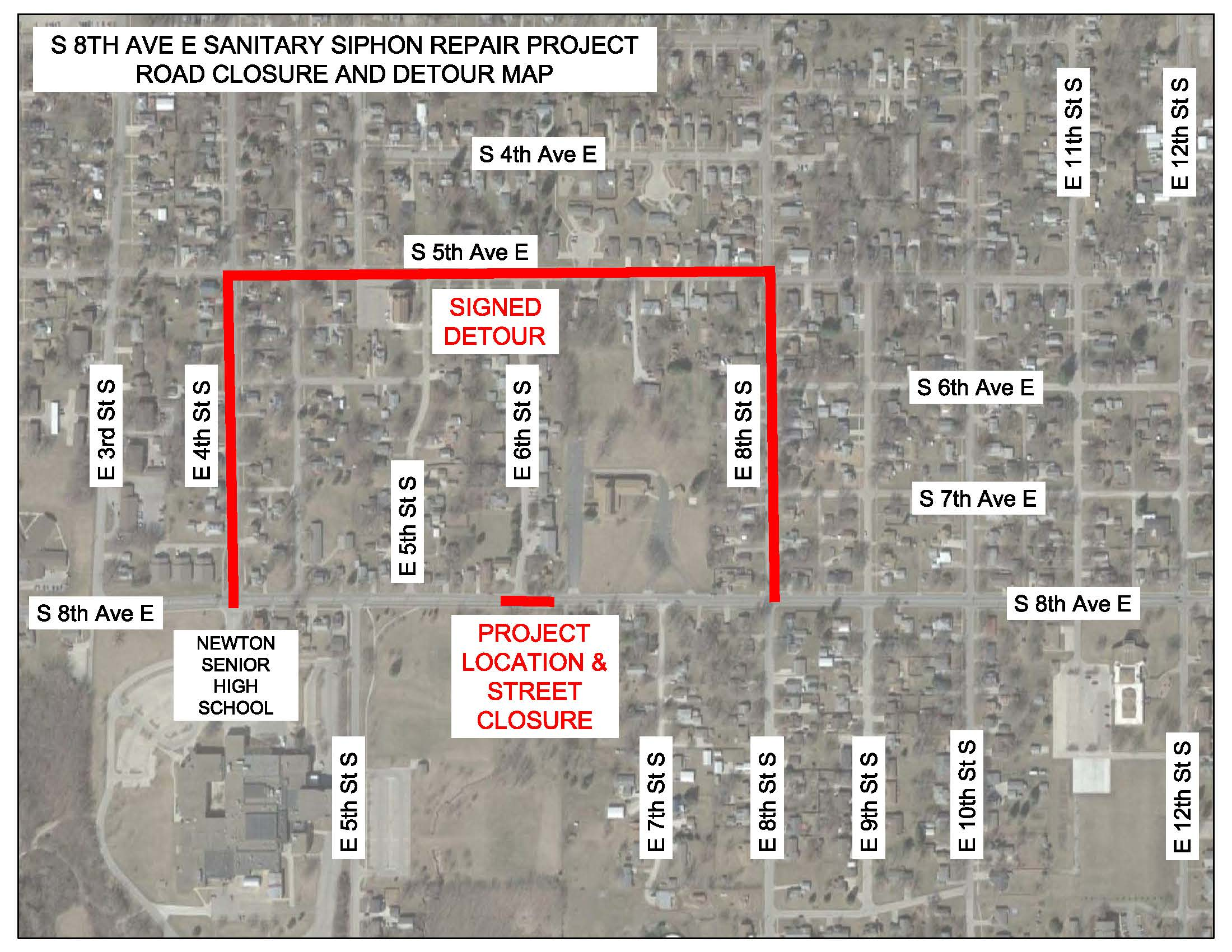 Siphon Repair Road Closure and Detour Map