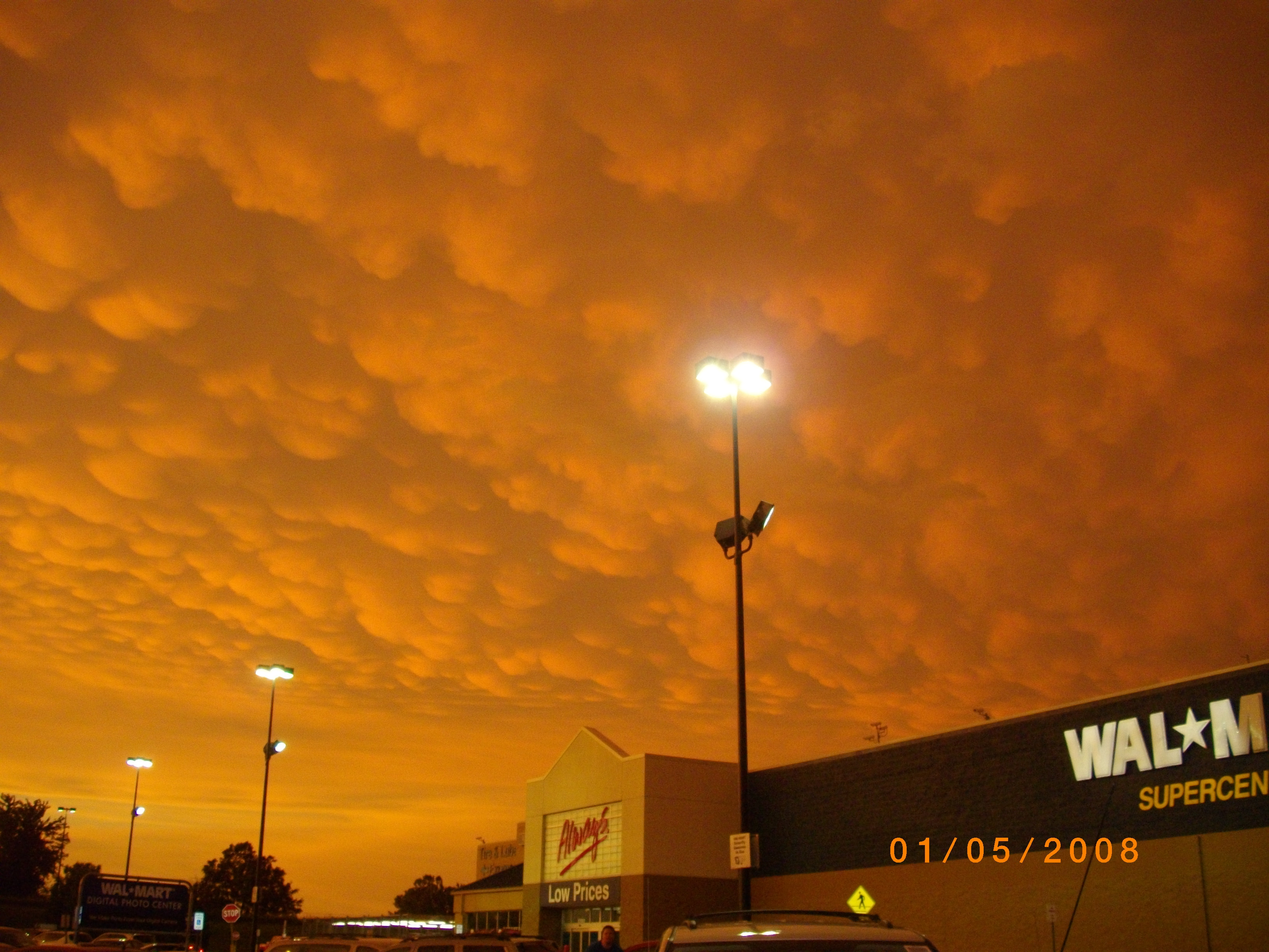 Interesting storm clouds over Newton's Wal-mart