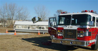 viewing simulated tanker truck rollover