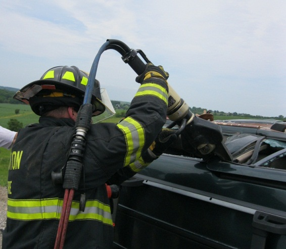 viewing firefighter during vehicle extrication